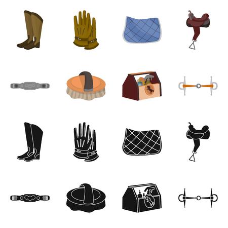 Vektor-Illustration von Ausrüstung und Reiten-Symbol. Satz von Ausrüstungs- und Wettbewerbsvektorikone für Lager. Vektorgrafik