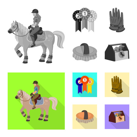 Vector design of equipment and riding logo. Collection of equipment and competition stock symbol for web.
