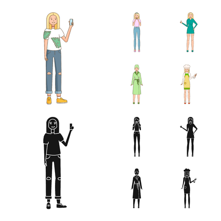 Isolated object of posture and mood symbol. Collection of posture and female stock symbol for web. Reklamní fotografie - 124896703