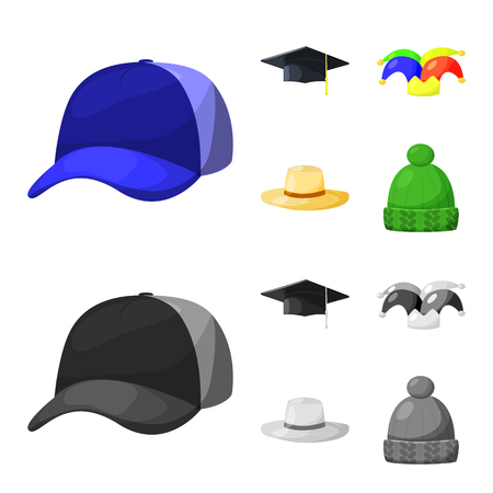 Vector design of clothing and cap logo. Set of clothing and beret stock vector illustration.