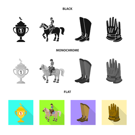 Vector design of equipment and riding symbol. Set of equipment and competition stock vector illustration. Ilustrace