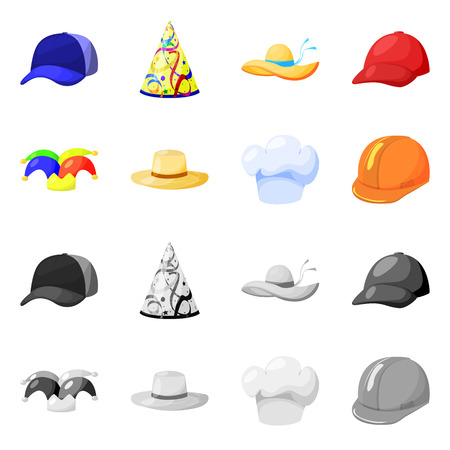 Isolated object of clothing and cap. Set of clothing and beret vector icon for stock.