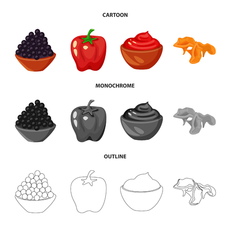 Vector design of taste and product symbol. Set of taste and cooking vector icon for stock.