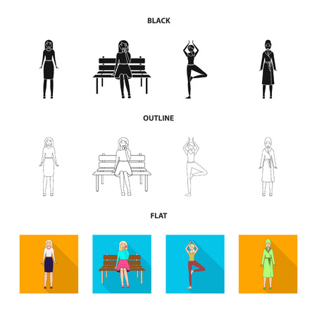 Vector design of posture and mood icon. Collection of posture and female stock vector illustration. Reklamní fotografie - 124896774