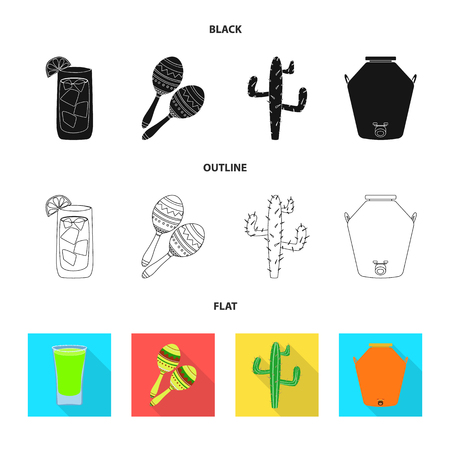 Vector illustration of cafe and Latin logo. Set of cafe and national vector icon for stock. Vectores