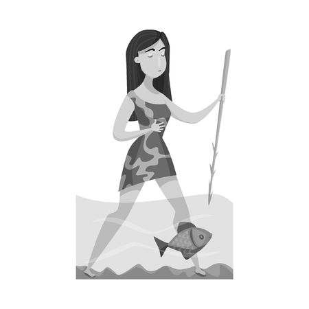 Vector illustration of woman and neanderthal icon. Set of woman and fish stock symbol for web.
