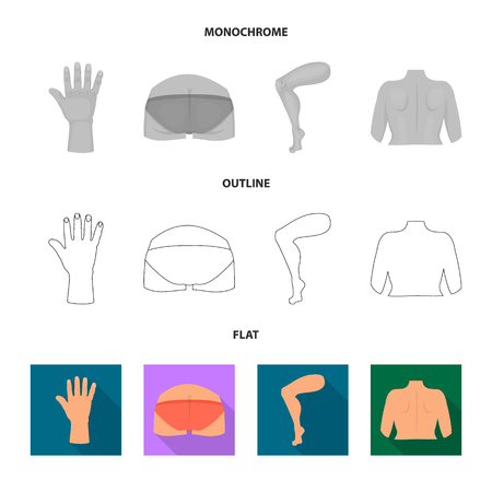 Vector illustration of body and part icon. Set of body and anatomy stock symbol for web.