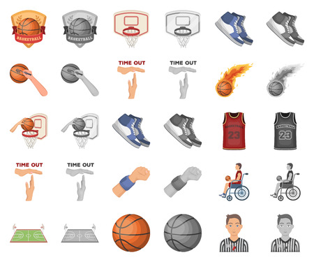 Basketball and attributes cartoon,monochrom icons in set collection for design.Basketball player and equipment vector symbol stock web illustration. Ilustração
