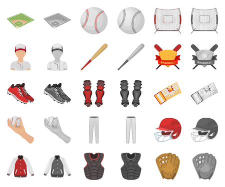 Baseball and attributes cartoon,monochrom icons in set collection for design.Baseball player and equipment vector symbol stock web illustration.