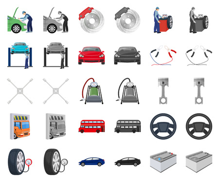 Car, lift, pump and other equipment cartoon,monochrom icons in set collection for design. Car maintenance station vector symbol stock illustration web.