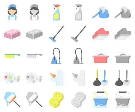 Cleaning and maid cartoon,monochrom icons in set collection for design. Equipment for cleaning vector symbol stock web illustration.
