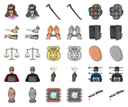 Crime and Punishment cartoon,monochrom icons in set collection for design.Criminal vector symbol stock web illustration.