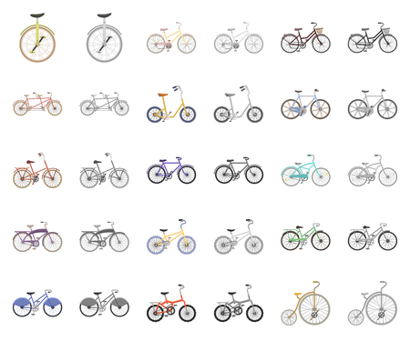 Various bicycles cartoon,monochrom icons in set collection for design. The type of transport vector symbol stock web illustration. Vetores