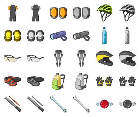 Bicycle outfit cartoon,monochrom icons in set collection for design. Bicycle and tool vector symbol stock web illustration.