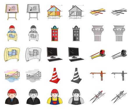Architecture and construction cartoon,monochrom icons in set collection for design. Architect and equipment vector symbol stock web illustration.