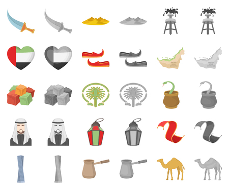 Country United Arab Emirates cartoon,monochrom icons in set collection for design. Tourism and attraction vector symbol stock web illustration.