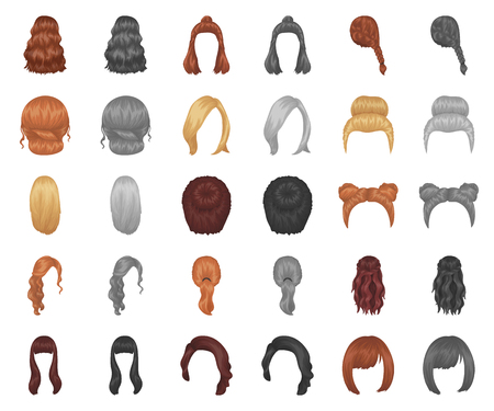 Female hairstyle cartoon,monochrom icons in set collection for design. Stylish haircut vector symbol stock web illustration.