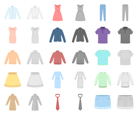 Different kinds of clothes cartoon,monochrom icons in set collection for design. Clothes and style vector symbol stock web illustration. 矢量图像