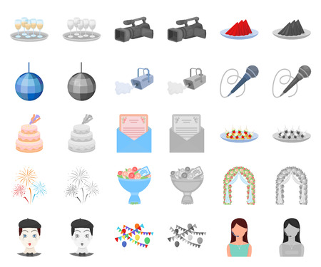 Event Organisation cartoon,monochrom icons in set collection for design.Celebration and Attributes vector symbol stock web illustration.