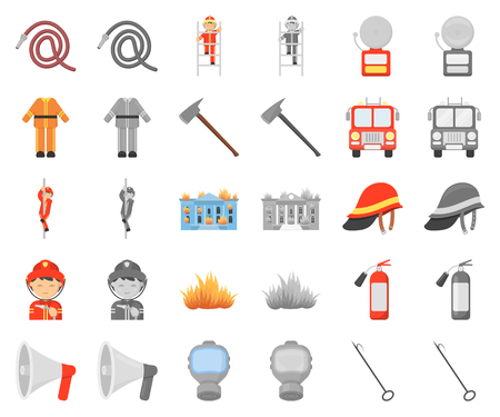 Fire Department cartoon,monochrom icons in set collection for design. Firefighters and equipment vector symbol stock web illustration.