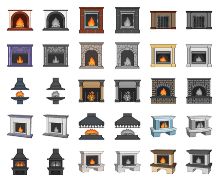 Different kinds of fireplaces cartoon,monochrom icons in set collection for design.Fireplaces construction vector symbol stock web illustration.