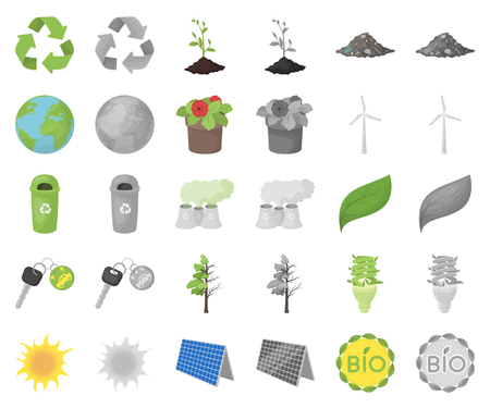 Bio and ecology cartoon,monochrom icons in set collection for design. An ecologically pure product vector symbol stock web illustration.