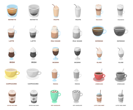Different kinds of coffee cartoon,monochrom icons in set collection for design. Coffee drink vector symbol stock web illustration.