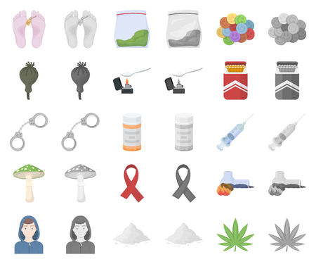 Drug addiction and attributes cartoon,monochrom icons in set collection for design. Addict and Drug vector symbol stock web illustration.