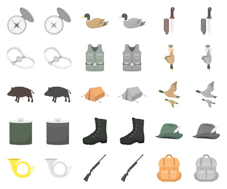 Hunting and trophy cartoon,monochrom icons in set collection for design. Hunting and equipment vector symbol stock web illustration. Çizim