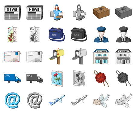 Mail and postman cartoon,monochrom icons in set collection for design. Mail and equipment vector symbol stock web illustration. Vettoriali