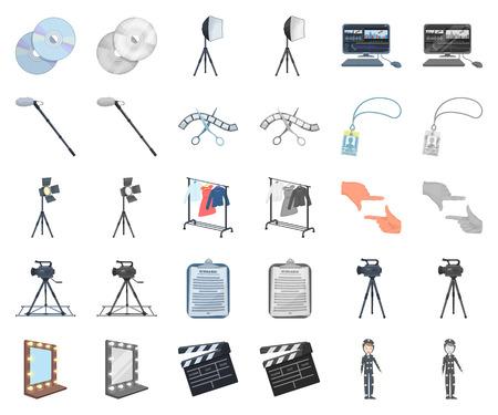 Hacer una caricatura de película, iconos monocromáticos de colección set de diseño. Atributos y equipo vector símbolo stock web ilustración.