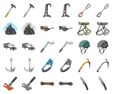 Mountaineering and climbing cartoon,monochrom icons in set collection for design. Equipment and accessories vector symbol stock web illustration. Ilustrace