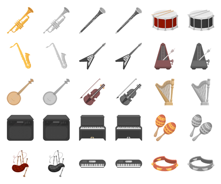 Musical instrument cartoon,monochrom icons in set collection for design. String and Wind instrument vector symbol stock web illustration.
