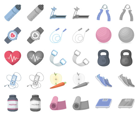 Gym and training cartoon,monochrom icons in set collection for design. Gym and equipment vector symbol stock illustration.