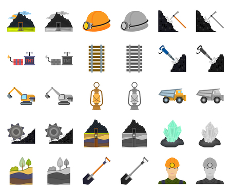 Mining industry cartoon,monochrom icons in set collection for design. Equipment and tools vector symbol stock web illustration. Illustration