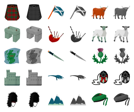 Country Scotland cartoon,monochrom icons in set collection for design. Sightseeing, culture and tradition vector symbol stock web illustration.