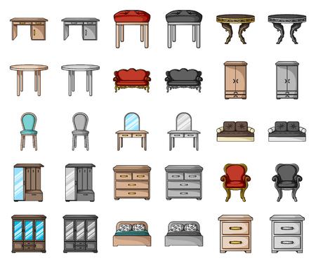 Möbel und Innenkarikatur, einfarbige Ikonen in der Satzsammlung für Design. Wohnmöbelvektorsymbolvorrat-Netzillustration.