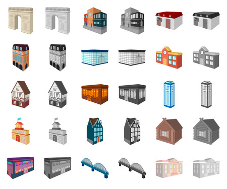 Building and architecture cartoon,monochrom icons in set collection for design.The building and dwelling vector isometric symbol stock web illustration.