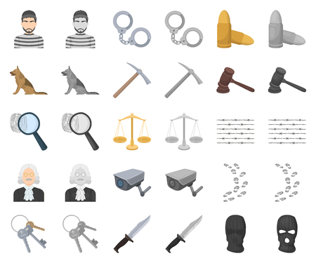 Prison and the criminal cartoon,monochrom icons in set collection for design.Prison and Attributes vector symbol stock illustration. Illustration