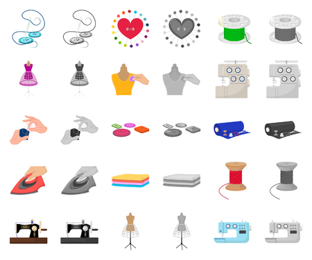 Atelier and equipment cartoon,monochrom icons in set collection for design. Sewing of outer clothing vector symbol stock web illustration.
