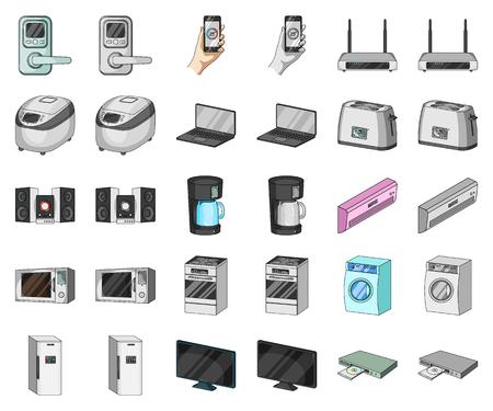 Smart home appliances cartoon,monochrom icons in set collection for design. Modern household appliances vector symbol stock illustration.