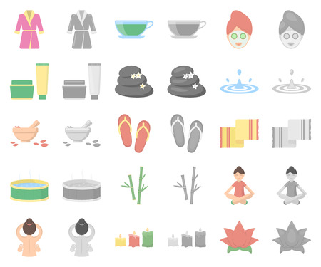 Spa salon and equipment cartoon,monochrom icons in set collection for design. Relaxation and rest vector symbol stock web illustration.