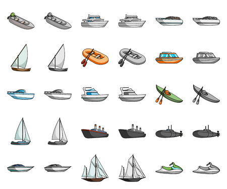 Water and sea transport cartoon,monochrom icons in set collection for design. A variety of boats and ships vector symbol stock web illustration.