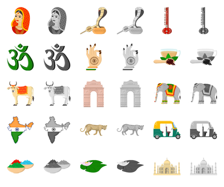 Country India cartoon,monochrom icons in set collection for design.India and landmark vector symbol stock web illustration.