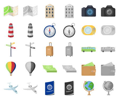 Rest and travel cartoon,monochrom icons in set collection for design. Transport, tourism vector symbol stock web illustration. Illustration