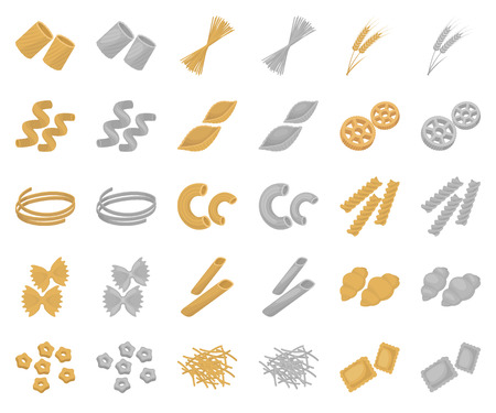 Types of pasta cartoon,monochrom icons in set collection for design. Figured macaroni for eating vector symbol stock web illustration.