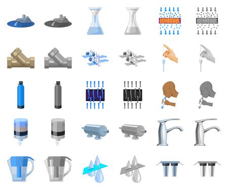 Water filtration system cartoon,monochrom icons in set collection for design. Cleaning equipment vector symbol stock web illustration.