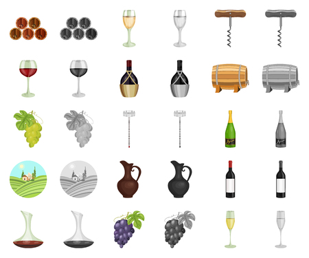 Wine products cartoon,monochrom icons in set collection for design. Equipment and production of wine vector symbol stock web illustration.