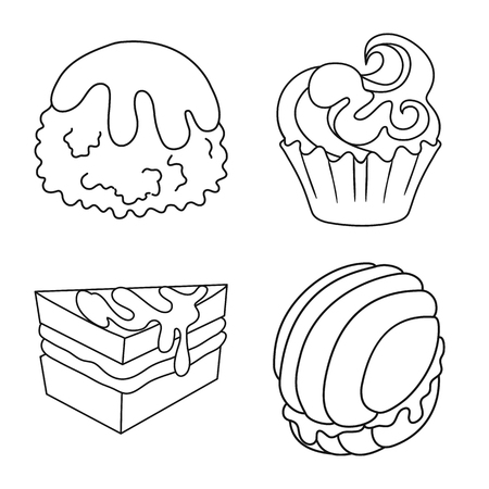 Vector design of sweet and product logo. Collection of sweet and caramel stock vector illustration.