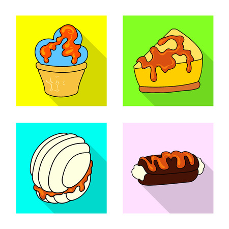 Vector design of confectionery and culinary icon. Collection of confectionery and colorful stock symbol for web.